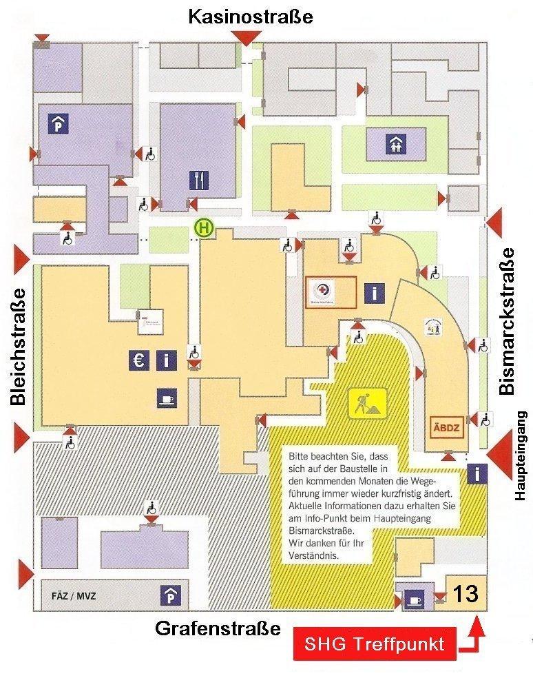 Wegeplan zum Treffpunkt SHG Darmstadt