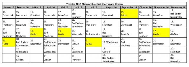 Termine 2016 Fulda