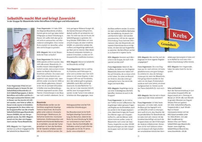 KISS-Magazin über Blasenkrebs-SHG Kassel