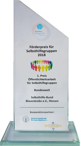 Pokal 1. Preis an den Selbsthilfe-Bund Blasenkrebs