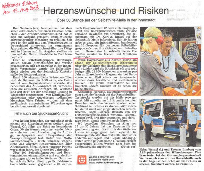 Wetterauer Zeitung vom 13.8.2018